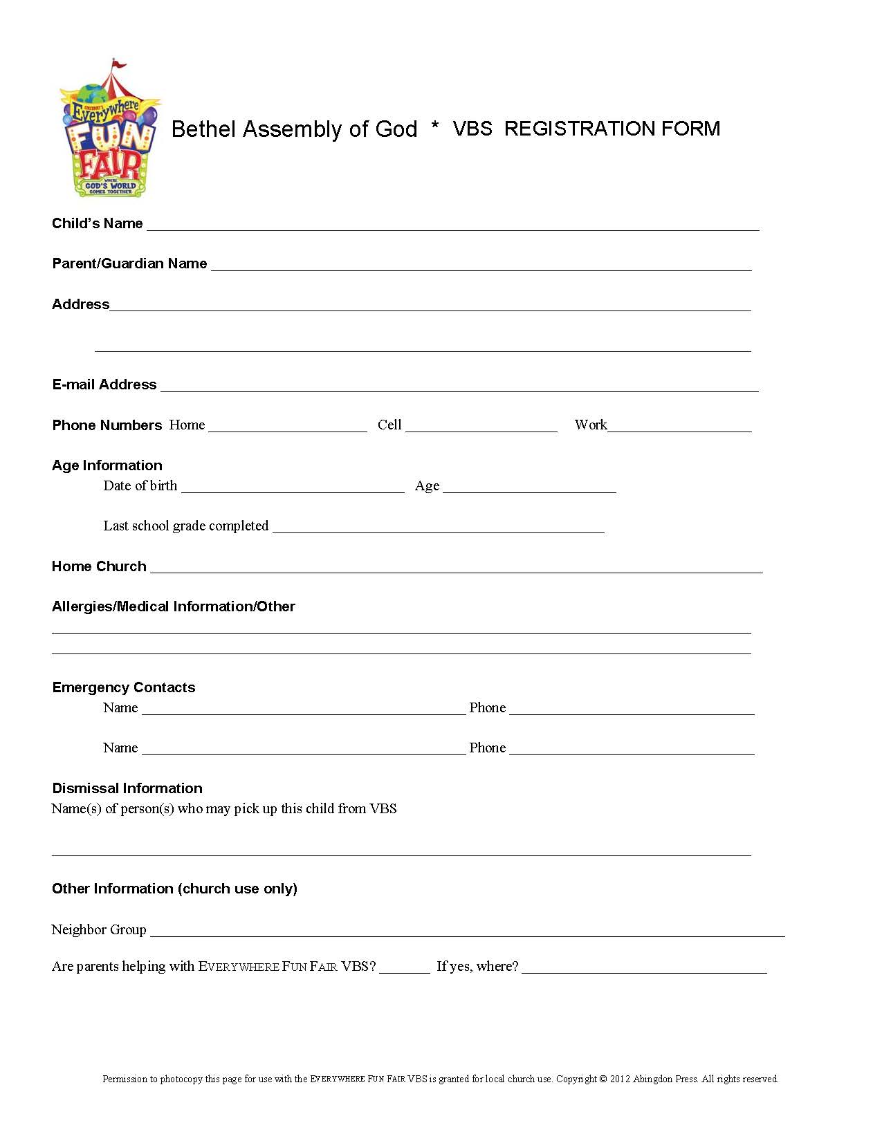 Vacation Bible School Registration Form Bethel