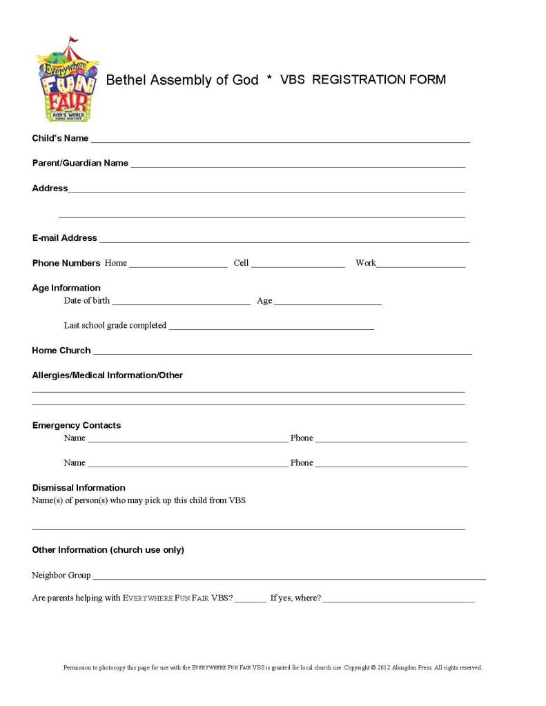 Registration Form for VBS
