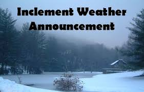 Inclement Weather Announcement - Sunday Worship Services Cancelled, Dec. 15, 2013
